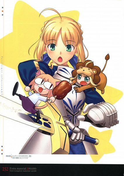 Tags: Anime, Higurashi Ryuuji, Hirai Yukio, TYPE-MOON, Fate/Complete Material IV, Fate/tiger colosseum, Saber Lion, Neco-Arc, Saber (Fate/stay night), Lion Costume, Official Art