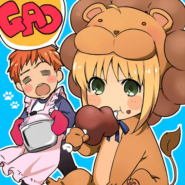 Tags: Anime, Utamaruc, TYPE-MOON, Fate/tiger colosseum, Saber (Fate/stay night), Saber Lion, Emiya Shirou, Oven Mitts, Lion Costume, Meat, Shishimimi, Fanart, Pixiv