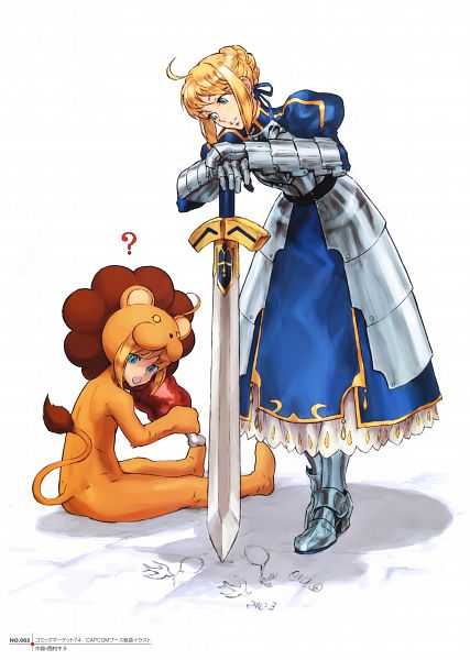 Tags: Anime, Nishimura Kinu, TYPE-MOON, Fate/Complete Material IV, Fate/tiger colosseum, Saber Lion, Saber (Fate/stay night), Lion Costume, Meat, Scan, Official Art
