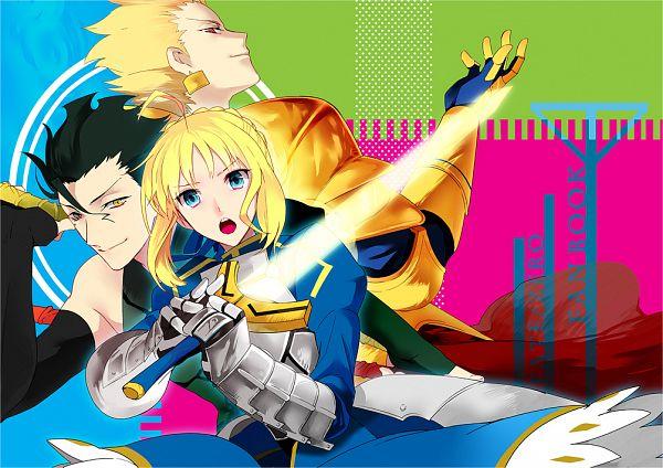 Tags: Anime, Sisutakh, Fate/zero, Gilgamesh, Saber (Fate/stay night), Lancer (Fate/zero), Pixiv, PNG Conversion, Fanart