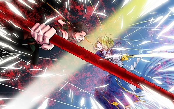 Tags: Anime, Puppetxxx, TYPE-MOON, Fate/zero, Lancer (Fate/zero), Saber (Fate/stay night), Pixiv, HD Wallpaper, Wallpaper