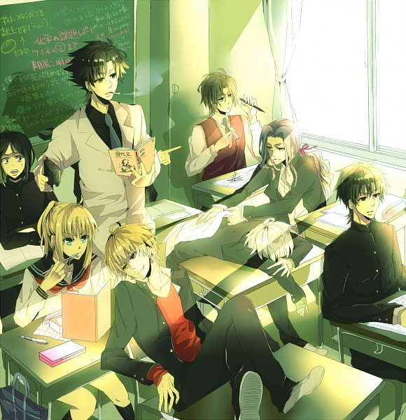 Tags: Anime, Caballo, TYPE-MOON, Fate/zero, Kotomine Kirei, Gilgamesh, Saber (Fate/stay night), Tohsaka Tokiomi, Emiya Kiritsugu, Matou Kariya, Waver Velvet, Berserker (Fate/zero), Chalkboard
