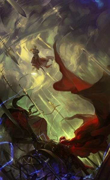 Tags: Anime, Alcd, Fate/zero, Gilgamesh, Rider (Fate/zero), Waver Velvet, Floating Cape, Chariot, Gordius Wheel, Gate of Babylon, Cattle, Pixiv, Mobile Wallpaper