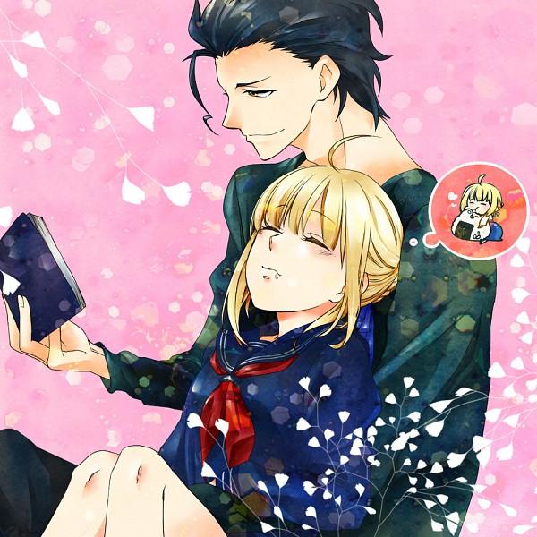 Tags: Anime, Pixiv Id 410278, TYPE-MOON, Fate/zero, Capsule Servant, Master Artoria, Lancer (Fate/zero), Saber (Fate/stay night), Onigiri, Pixiv
