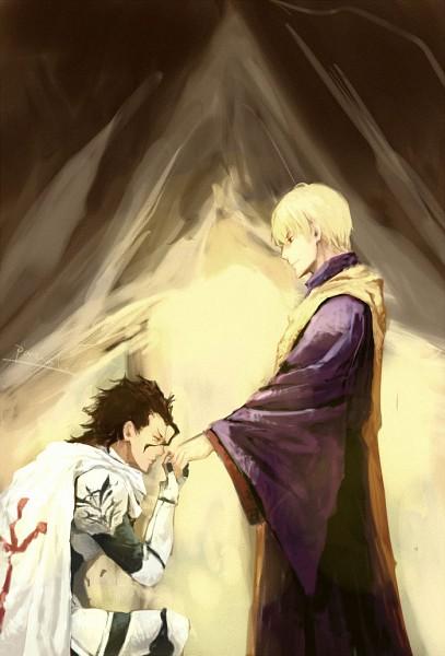 Tags: Anime, Parcivale, TYPE-MOON, Fate/zero, Lancer (Fate/zero), Gilgamesh, Fanart, Mobile Wallpaper, Pixiv, Fanart From Pixiv