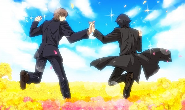 Tags: Anime, Ebonywhite, TYPE-MOON, Fate/zero, Kotomine Kirei, Emiya Kiritsugu, Flowers Field