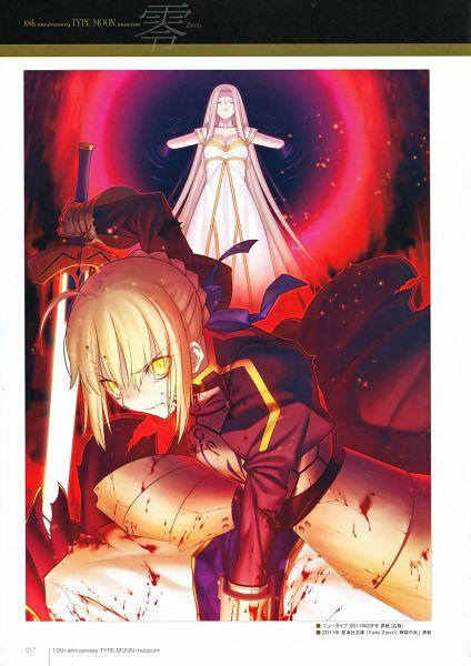 Tags: Anime, Takeuchi Takashi, TYPE-MOON, Fate/zero, TYPE-MOON 10th Anniversary Phantasm, Saber (Fate/stay night), Irisviel von Einzbern, Mobile Wallpaper, Scan, Official Art