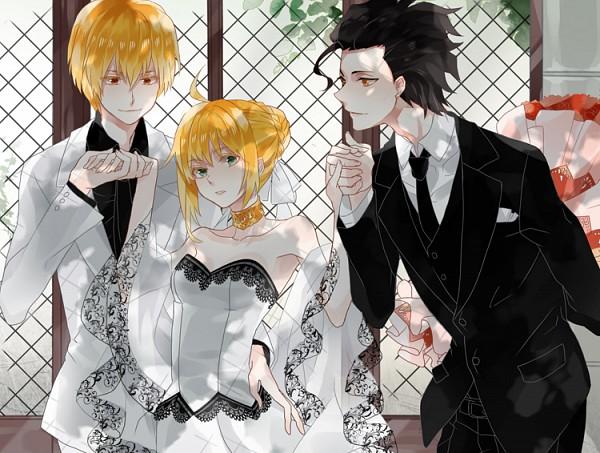 Tags: Anime, Michi (Iawei), Fate/zero, Lancer (Fate/zero), Gilgamesh, Saber (Fate/stay night), Threesome, Fanart, Fanart From Pixiv, Pixiv