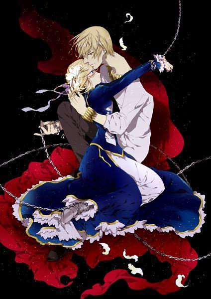 Tags: Anime, Fujiwara Kai, TYPE-MOON, Fate/zero, Gilgamesh, Saber (Fate/stay night), Fanart, Mobile Wallpaper, Pixiv, Fanart From Pixiv, PNG Conversion