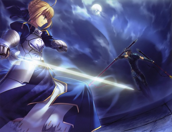 Tags: Anime, Takeuchi Takashi, TYPE-MOON, Fate/zero, Type-MOON Comic Illust Book, Saber (Fate/stay night), Lancer (Fate/zero), Official Art