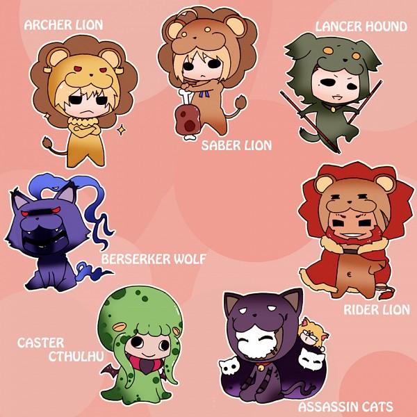 Tags: Anime, TYPE-MOON, Fate/zero, Caster (Fate/zero), Rider (Fate/zero), Berserker (Fate/zero), Saber Lion, Saber (Fate/stay night), Assassin (Fate/zero), Gilgamesh, Neco-Arc, Lancer (Fate/zero), Hounds