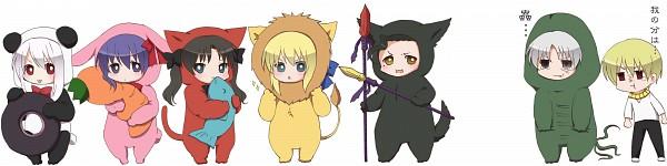Tags: Anime, B-cat, TYPE-MOON, Fate/zero, Lancer (Fate/zero), Illyasviel von Einzbern, Matou Kariya, Matou Sakura, Tohsaka Rin, Gilgamesh, Saber (Fate/stay night), Pixiv, Fanart