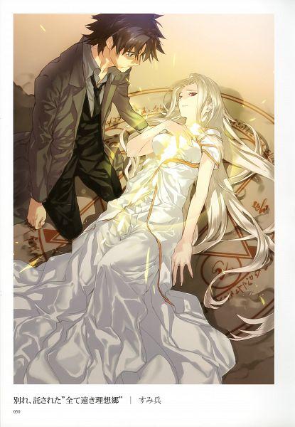 Tags: Anime, Sumihey, TYPE-MOON, Fate/zero, Fate/Zero Tribute Arts, Irisviel von Einzbern, Emiya Kiritsugu, Scan, Mobile Wallpaper, Official Art