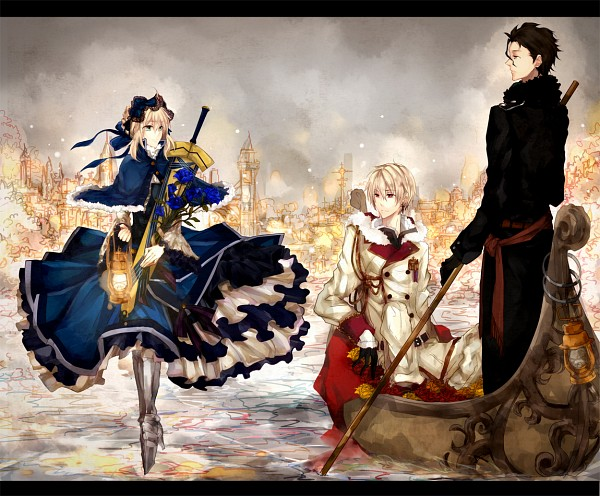 Tags: Anime, Pixiv Id 2600869, TYPE-MOON, Fate/zero, Lancer (Fate/zero), Saber (Fate/stay night), Gilgamesh, Avalon (Sheath), Pixiv, Fanart