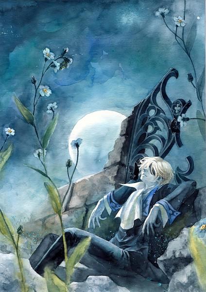 Tags: Anime, Chernotrav, Tsubasa: RESERVoir CHRoNiCLE, Fay D. Flourite, Forget Me Not (Flower), Fanart, Watercolor, Traditional Media, Mobile Wallpaper, Pixiv