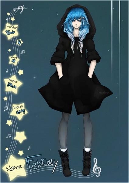 Tags: Anime, Hachiyuki, February (Personification), Glowing Hair, Slender, Stellar Singers, Mobile Wallpaper, deviantART, Original