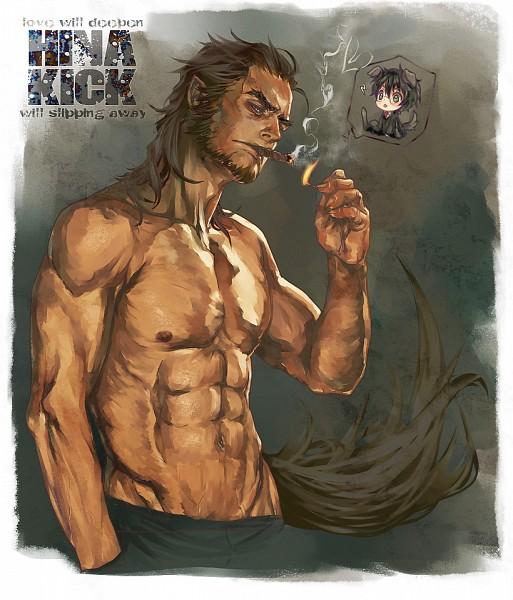 Tags: Anime, Flayu, Harry Potter, Fenrir Greyback, Harry Potter (Character), Cigar, Match Stick, Werewolf, Dog Tail, Lightning Bolt (Symbol), Fanart, Gryffindor House
