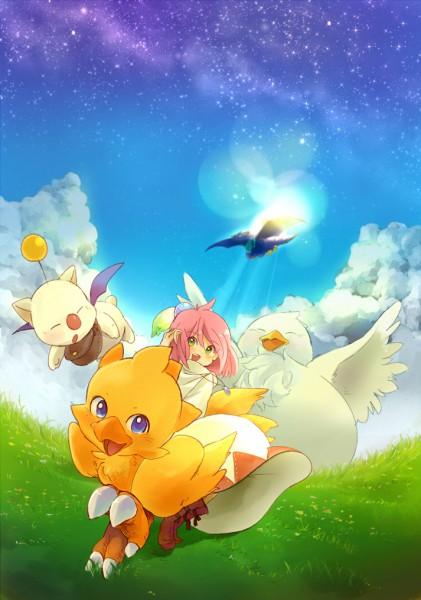Tags: Anime, Meno (Pixiv Id 1464601), Final Fantasy Fables: Chocobo's Dungeon, Chocobo, Shiroma, Moogle, White Mage (Final Fantasy), Pixiv, Fanart