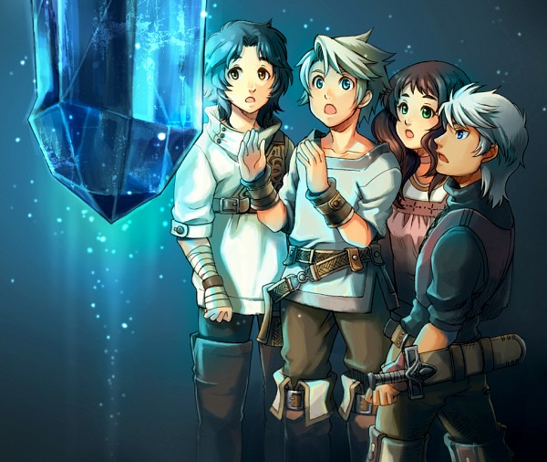 Tags: Anime, 43 (Artist), Final Fantasy III, Luneth, Refia, Ingus, Arc (FF3), Character Request, Fanart