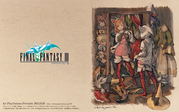 Tags: Anime, Final Fantasy III, Ingus, Onion Knight, Luneth, Arc (FF3), Refia, Black Mage, Devout, Freelancer, Wallpaper, Official Art, Red Mage