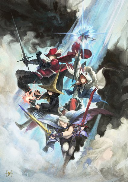 Tags: Anime, Edward Tsang, Final Fantasy III, Ingus, Black Mage, Luneth, Arc (FF3), Kurayami no Kuro, Aria Benett, Refia, Onion Knight, White Mage (Final Fantasy), Blue Cape