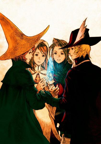 Tags: Anime, Yoshida Akihiko, SQUARE ENIX, Final Fantasy III, White Mage (Final Fantasy), Ingus, Black Mage, Luneth, Arc (FF3), Onion Knight, Refia, Hat Feather, Mobile Wallpaper
