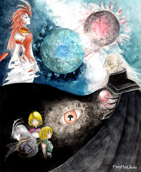 Tags: Anime, Floatingukuku, Final Fantasy IX, Mikoto (Final Fantasy IX), Garland (Ff9), Zidane Tribal, Trance Kuja, Kuja, deviantART, Traditional Media