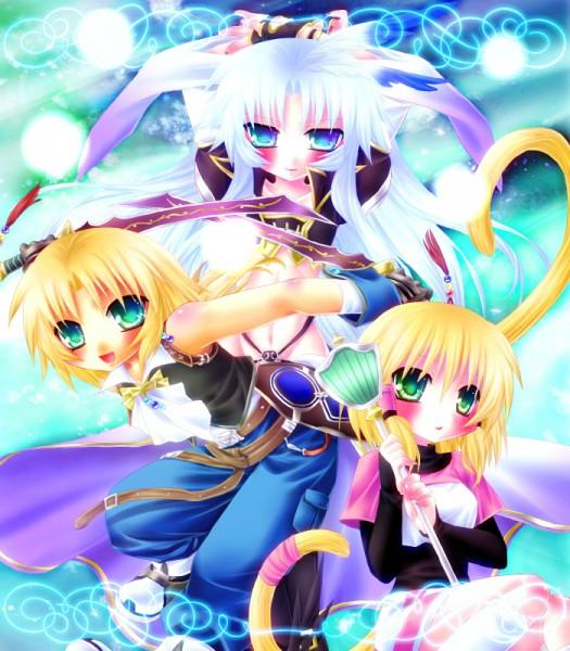 Tags: Anime, Minatosaiga, SQUARE ENIX, Final Fantasy IX, Zidane Tribal, Kuja, Mikoto (Final Fantasy IX), Tail Ornament, Fanart, Pixiv