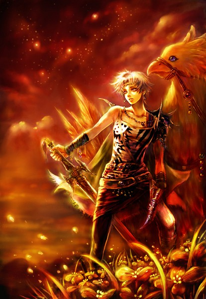 Tags: Anime, SQUARE ENIX, Final Fantasy V, Dissidia, Chocobo, Butz Klauser, Yellow, Mobile Wallpaper