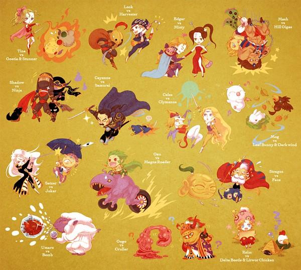 Tags: Anime, Pixiv Id 2524707, Final Fantasy VI, Shadow (Clyde), Celes Chere, Interceptor (Ff6), Gau (Final Fantasy VI), Setzer Gabbiani, Tina Branford, Locke Cole, Mash Rene Figaro, Relm Arrowny, Umaro