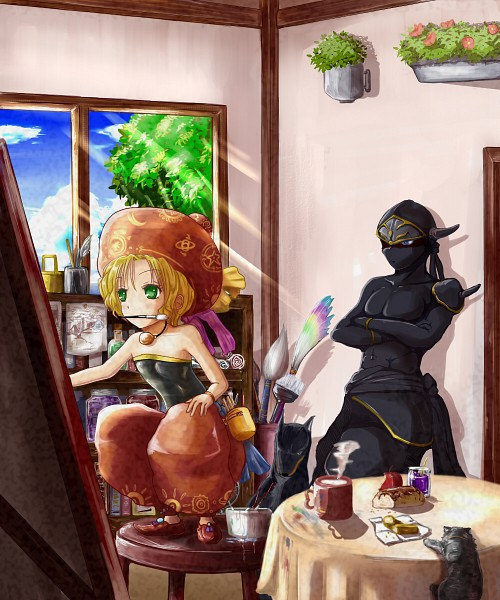 Tags: Anime, Cafe Au Lait (Artist), Final Fantasy VI, Interceptor (Ff6), Shadow (Clyde), Relm Arrowny, Baggy Pants, Stool, Painting (Action), Pixiv