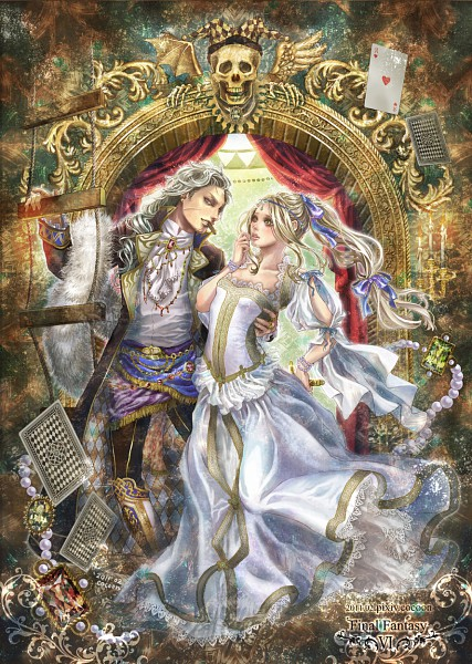 Tags: Anime, Cocoon (yuming4976), Final Fantasy VI, Setzer Gabbiani, Celes Chere, Cigar, Fanart From Pixiv, Fanart, Mobile Wallpaper, Pixiv