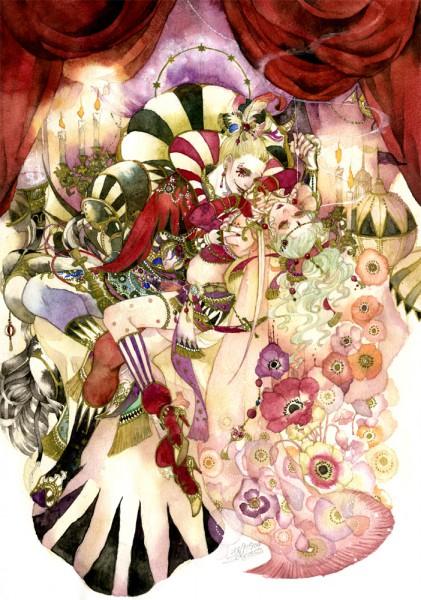 Tags: Anime, Sakizou, Final Fantasy VI, Cefca Palazzo, Tina Branford, Anemone (Flower), Mobile Wallpaper, Traditional Media, Pixiv