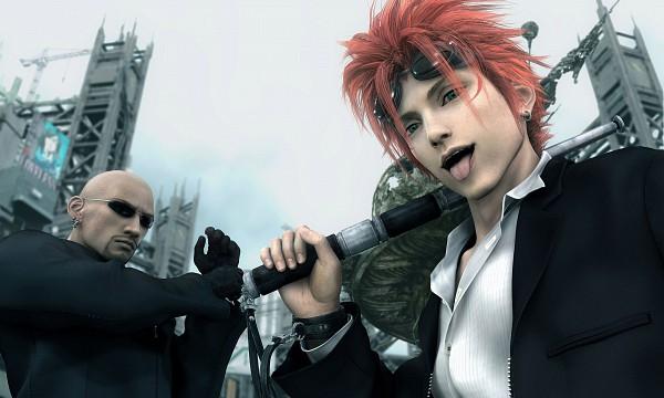 Tags: Anime, Nomura Tetsuya, Final Fantasy VII, Rude, Reno, Electric Rod, Midgar, Wallpaper, 3D, Turks