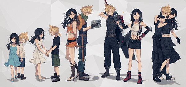 Tags: Anime, Pixiv Id 6084786, Final Fantasy VII, Tifa Lockhart, Cloud Strife, Surprise Hug, Fanart From Pixiv, Fanart, Pixiv, Twitter