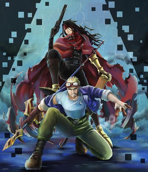Tags: Anime, Niboshi514, Final Fantasy VII, Vincent Valentine, Cid Highwind, PNG Conversion, Fanart, Pixiv