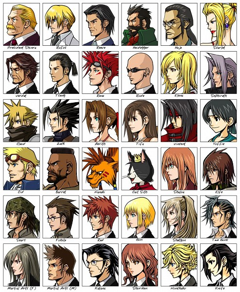 Tags: Anime, Final Fantasy VII, Zack Fair, Hojo, Sephiroth, Red XIII, Vincent Valentine, Tifa Lockhart, Cloud Strife, Reno, Aerith Gainsborough, Elena, Barret Wallace