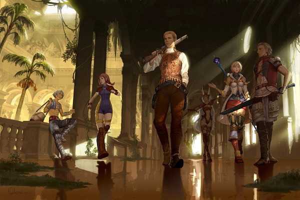 Tags: Anime, Mugon, Final Fantasy XII, Fran (FFXII), Penelo, Viera, Basch Fon Ronsenburg, Ashelia B'nargin Dalmasca, Vaan, Balthier, Shotgun, Fanart From Pixiv, Fanart