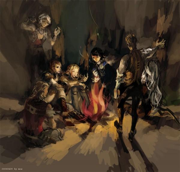 Tags: Anime, Final Fantasy XII, Balthier, Ashelia B'nargin Dalmasca, Fran (FFXII), Basch Fon Ronsenburg, Penelo, Vaan, Larsa, Viera, Larsa Solidor, Campfire, Artist Request