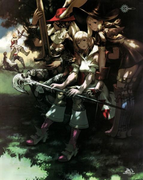 Tags: Anime, Yoshida Akihiko, Final Fantasy XII, White Mage (Final Fantasy), Balthier, Fran (FFXII), Black Mage, Penelo, Viera, Basch Fon Ronsenburg, Ashelia B'nargin Dalmasca, Vaan, Official Art