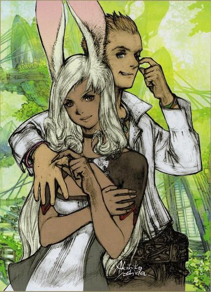 Tags: Anime, Yoshida Akihiko, Final Fantasy XII, Fran (FFXII), Viera, Balthier, Mobile Wallpaper, Official Art, Scan