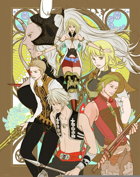 Tags: Anime, Final Fantasy XII, Balthier, Ashelia B'nargin Dalmasca, Fran (FFXII), Penelo, Basch Fon Ronsenburg, Vaan, Viera, Pixiv, Fanart