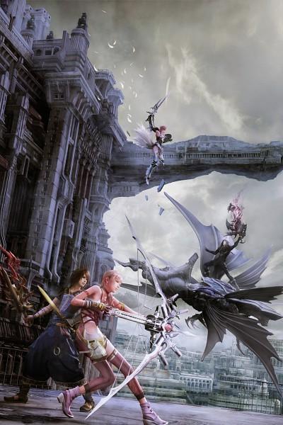 Tags: Anime, Nomura Tetsuya, SQUARE ENIX, Final Fantasy XIII, Serah Farron, Caius Ballad, Noel Kreiss, Lightning Farron, Official Art, Mobile Wallpaper, 3D