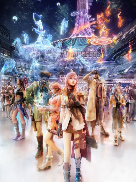 Tags: Anime, SQUARE ENIX, Final Fantasy XIII, Hope Estheim, Snow Villiers, Carbuncle, Oerba Dia Vanille, Sazh Katzroy, Lightning Farron, Oerba Yun Fang, Crowd, Official Art
