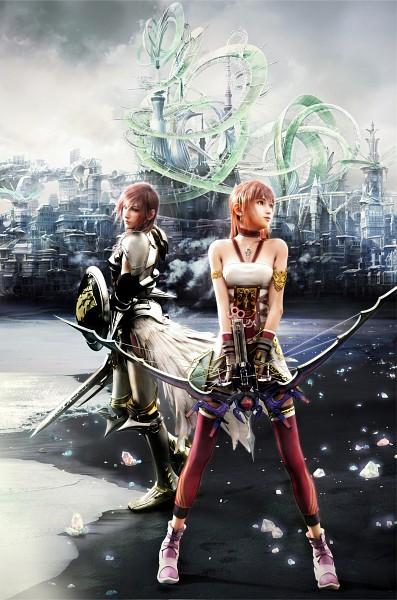 Tags: Anime, SQUARE ENIX, Final Fantasy XIII, Lightning Farron, Serah Farron, Mobile Wallpaper, Official Art