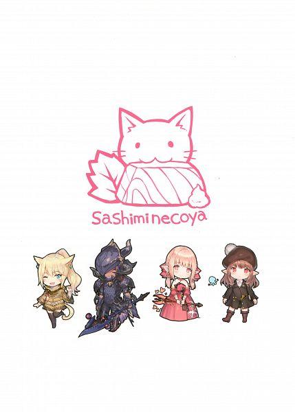 Tags: Anime, Momoko (Momopoco), Sashimi Necoya Patch 1.1, Final Fantasy XIV, Lalafell, Miqo'te, Character Request, Comic Market, Scan, Comic Market 91