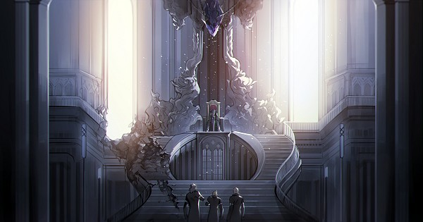 Tags: Anime, Ginmu, Final Fantasy XV, Prompto Argentum, Noctis Lucis Caelum, Ignis Scientia, Gladiolus Amicitia, Stage, Throne, Sitting On Throne, Facebook Cover, Fanart From Pixiv, PNG Conversion