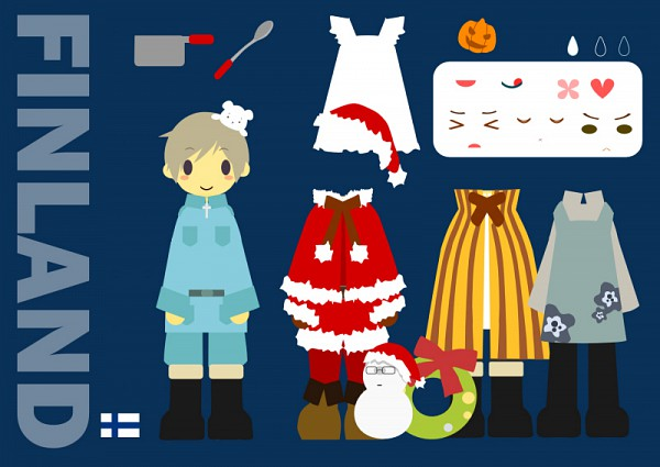 Tags: Anime, Pixiv Id 2389028, Axis Powers: Hetalia, Sweden, Finland, Cooking Pot, Paper Dolls, Wreath, Pixiv, Fanart, Nordic Countries