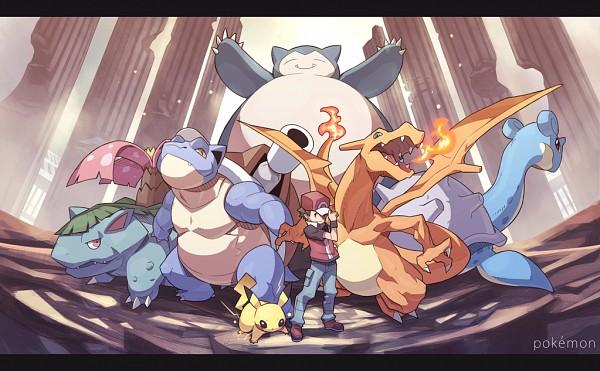 Tags: Anime, Hajime (Hajime-ill-1st), Pokémon, Venusaur, Charizard, Fire (Pokémon), Red (Pokémon), Snorlax, Lapras, Blastoise, Pikachu
