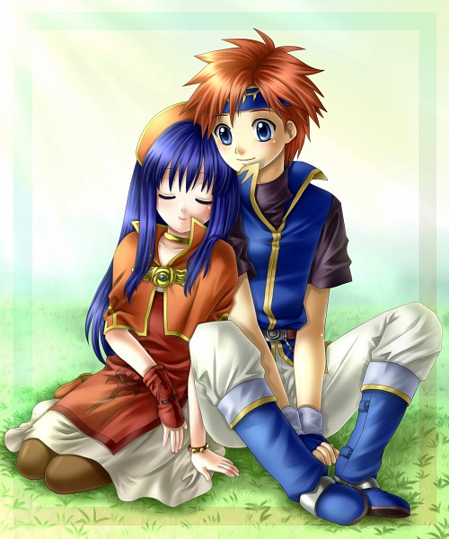 Tags: Anime, Yuino (Fancy Party), Fire Emblem: Fuuin no Tsurugi, Lilina (Fire Emblem), Roy (Fire Emblem), Head on Shoulder, Fire Emblem: Binding Blade